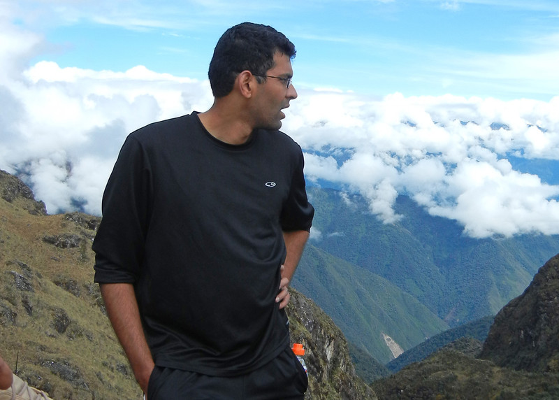 Inca Trail Day 3 - Prakesh at the top of the second pass
