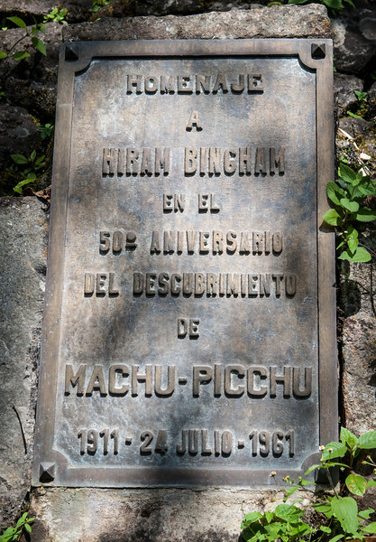 Machu Picchu 50th Anniversary Plaque