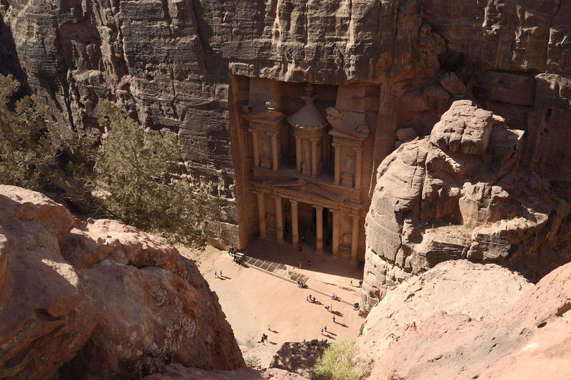 The Treasury, Al Khasneh from above the cliff