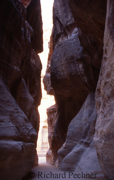 "This narrow path called ""Siqh"" leads to The ""Kezneh"" tomb (The Treasury). It was erected 20 centuries ago by the Nabatean people along a very ancient commercial route."