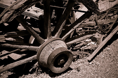Weathered Wagon Wheel.