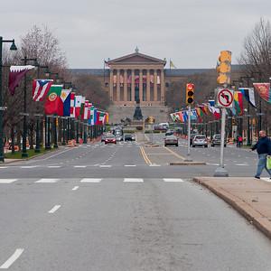 Philadelphia Museum of Art (northwest view along Benjamin Franklin Parkway).