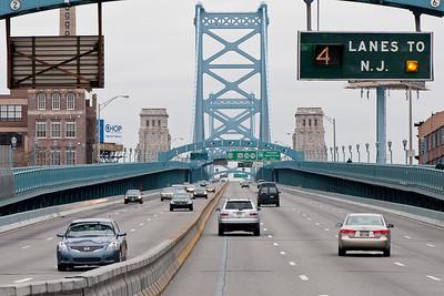 Benjamin Franklin Bridge (view to east) from Franklin Square Park, Philadelphia.