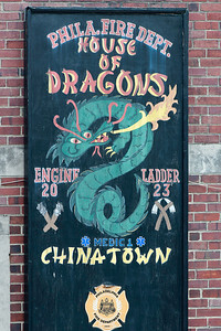Sign outside of Philadelphia Fire Department in Chinatown.