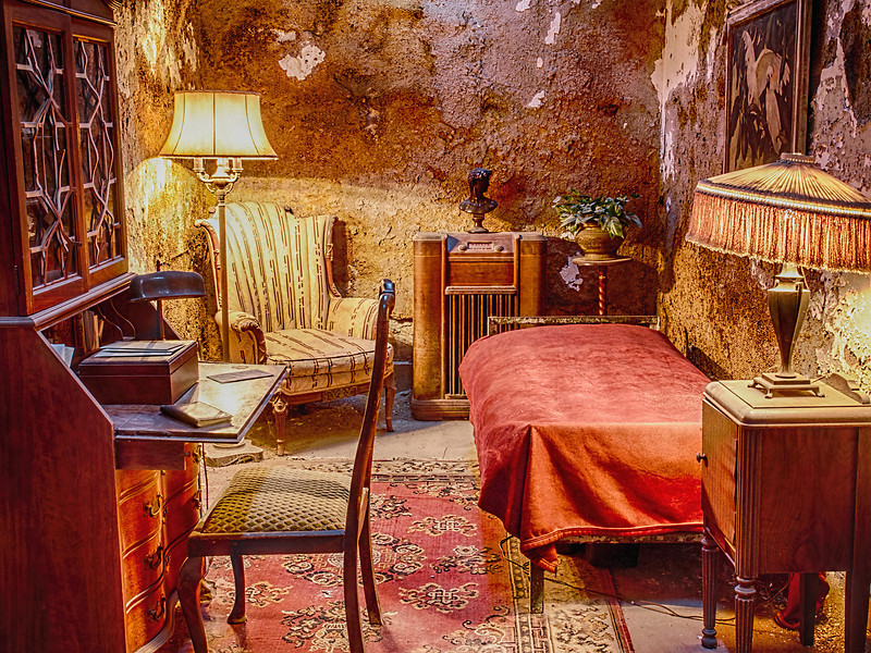 The prison housed many famous inmates, including Willie Sutton and Al Capone.  Capone received special treatment, as seen by this re-creation of his cell.