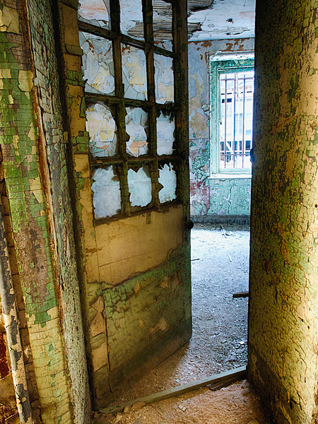 Rust and peeling paint provide eerie beauty.