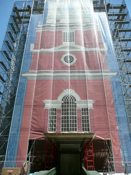 Independence Hall was being restored while we were there....this is what it looks like.