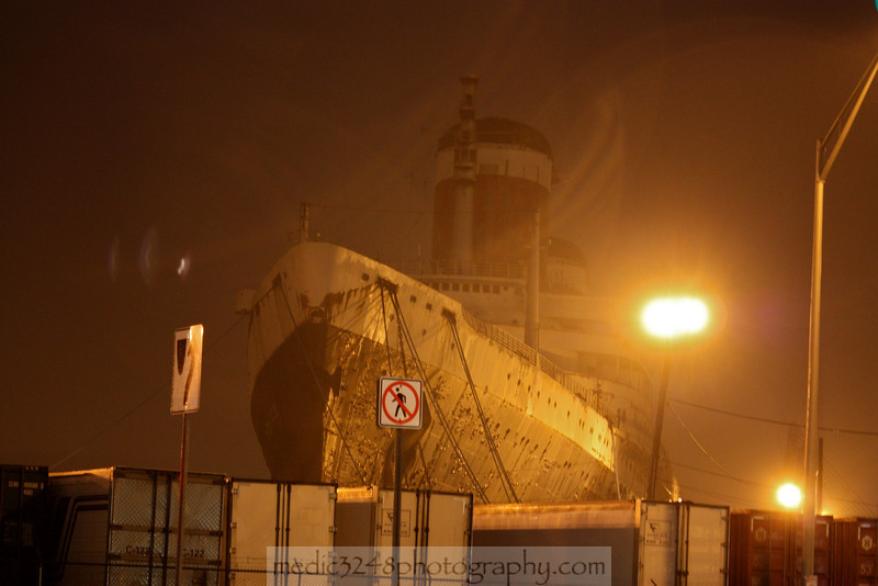 The SS United States laid up in Philadelphia looking more like a ghost ship than the grand ocean liner she was towards the end of the heyday of transatlantic ocean travel.