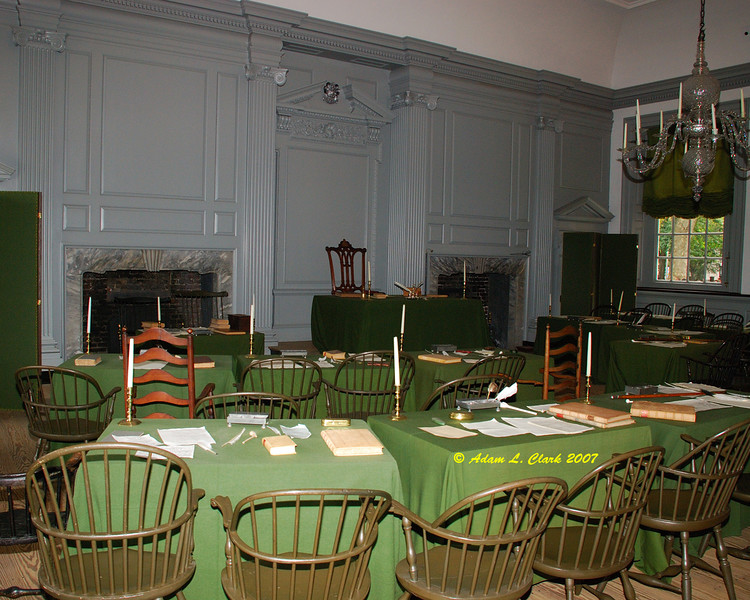 The assembly room in Independence Hall.