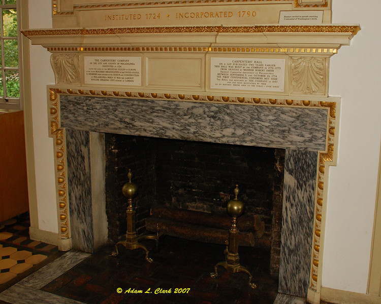 The fireplace in Carpenter's Hall.