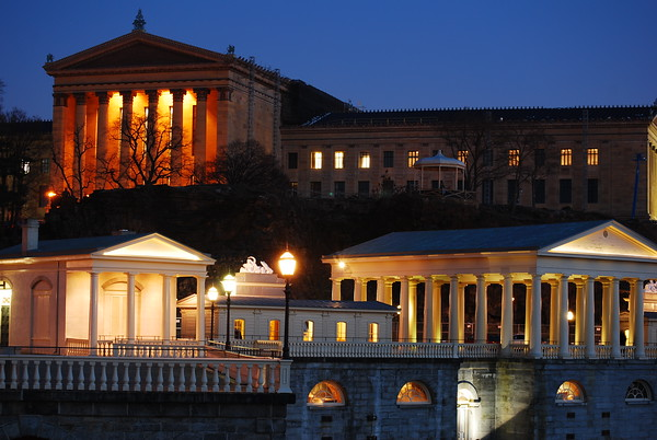 Philadelphia Museum of Art and the Water Works (below). Night scene.