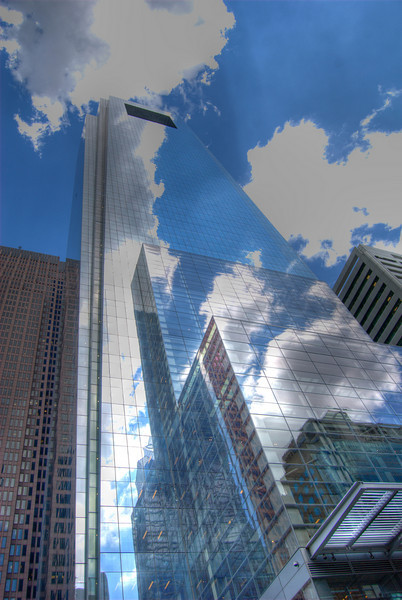 Comcast Center building, Philadelphia. High dynamic range image. Reflections