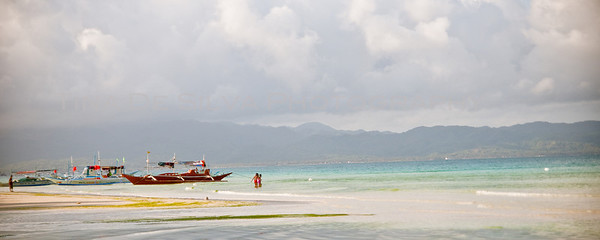 Boats Docked at the Beach Boracay Beach Philippines
