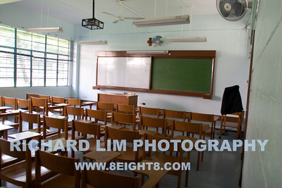 Typical classroom.  Not much has changed except we had the metal framed chairs, no white Board, no built-in projector and tons of cigarette butts on the floor. We were allowed to smoke in class.