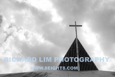 Steeple of the Church of the Gesu.
