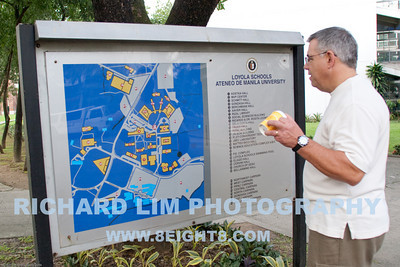 Brother-in-law, Charlie, in front of the Ateneo campus map.  The campus has definitely grown by leaps and bounds in the last thirty odd some years since I walked through these grounds.