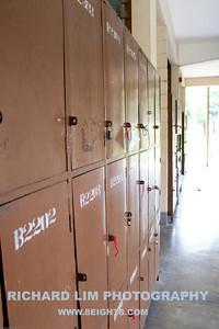 Student lockers along Berchmans Hall's hallway.