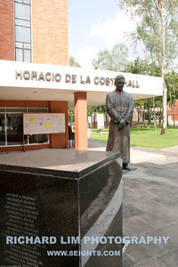 Statue of a former professor, Fr. Horacio de la Costa, S.J., infront of the building named in his honor.