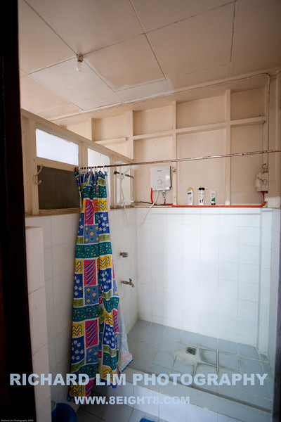 Downstairs bathroom. Note the water heater for hot showers otherwise yikes!!