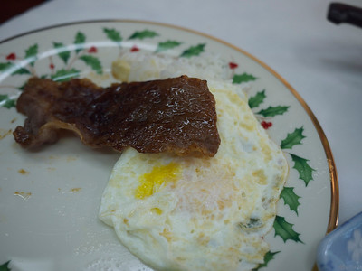 first Filipino breakfast: garlic rice, beef tapa, fried egg