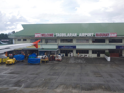 Tagbilaran airport in all its glory. short runway meant the brakes were put on hard.