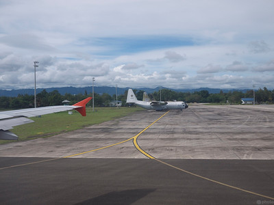 after multiple aborted landing attempts at Tagbilaran airport due to foul weather, we were redirected to Cebu. as we were preparing to take off again to Tagbilaran, i noticed a bunch of C-130's on the tarmac.