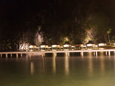Miniloc Island Resort at night