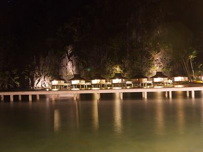 Miniloc Island Resort at night