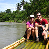Recall our bamboo raft in Thailand, it didn't really float either.  But this one has a bench, and some fresh sprouts.
