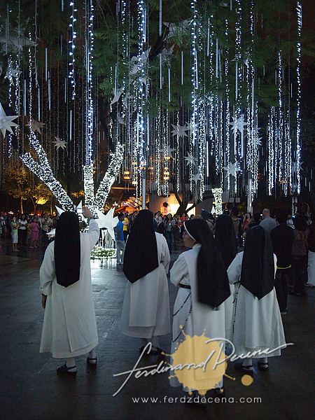 A nun taking pictures with her sister nuns