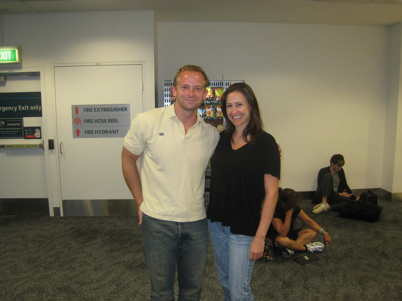 Kelly and I before the flight out of Sydney.