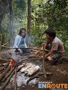 Coffee Pickers preparing Food