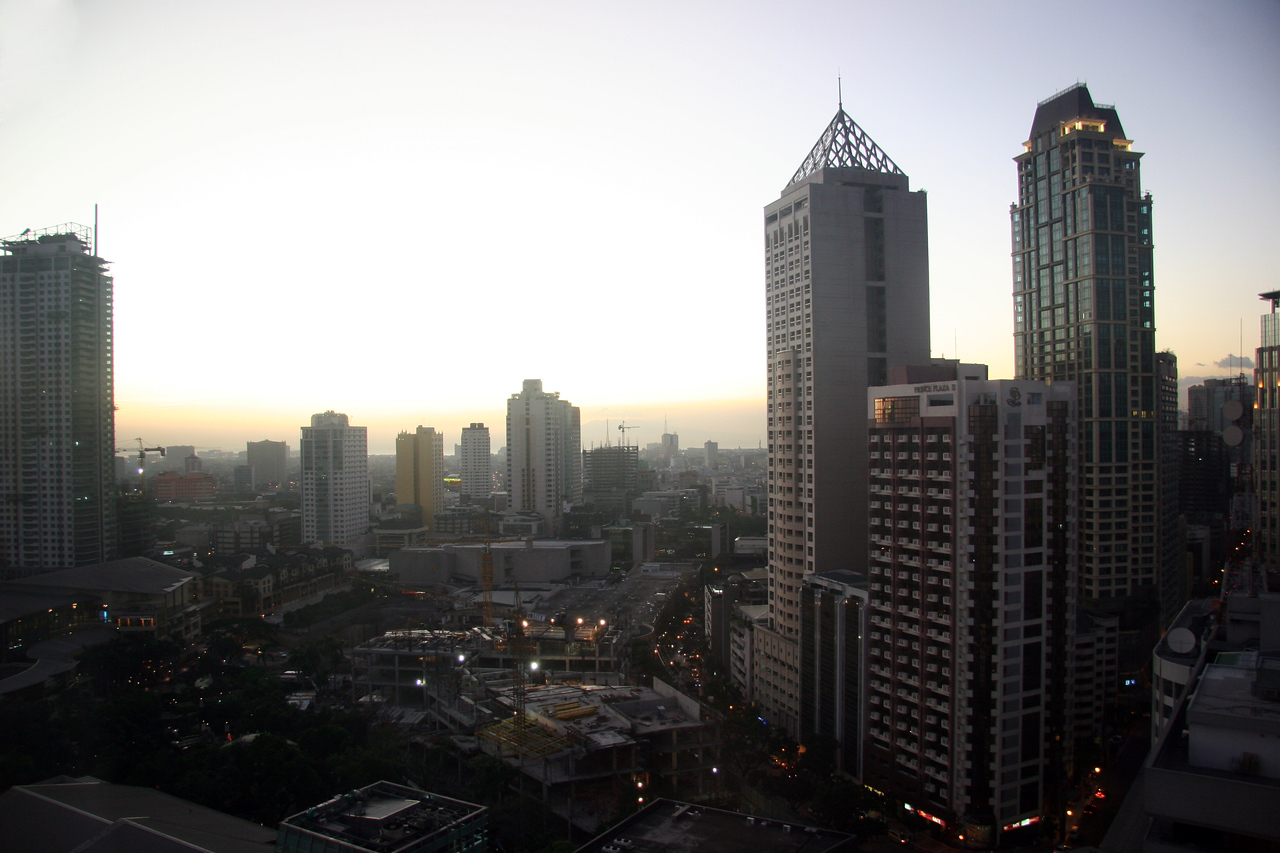 Makati, Manila.  The view of the city center from my hotel room.