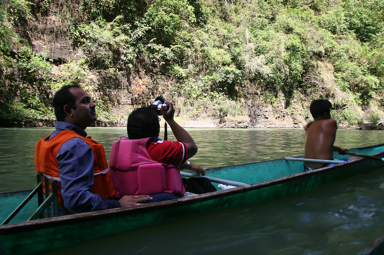 Pradyumna and Ramees shared one kayak.  Two guys paddled and tugged the boats up the river to the waterfall then back down to the boat rental place.
