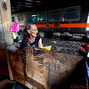 Virginia, resident of the Santa Mesa community of homeless living next to the train tracks below an underpass in Manila