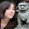 Sabrina and the temple lion.