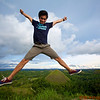 Local Philippino making a jump shot at the Chocolate Mountains