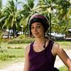 Her helmet is as cool as mine.