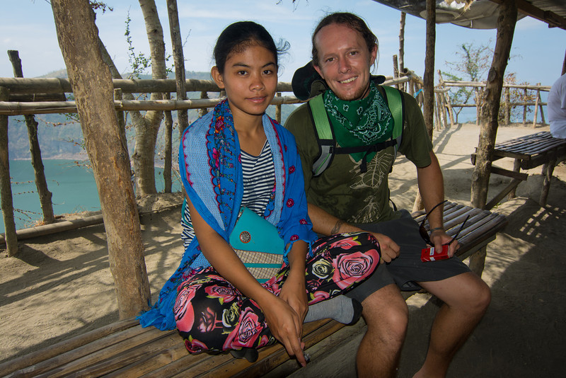 Jason and an attractive young woman at the top of the volcano in Lake Taal. March 2014.
