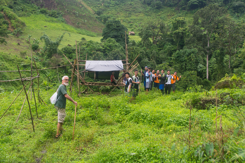 On a hike to another village with Jesuit Father Pedro Walpole of Bendum Village in Bukidnon, Mindanao, Philippines, June 2017. [Bendum 2017-06 024 Bukidnon-Philippines]