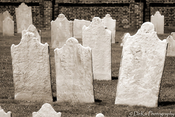 Faded gravestones