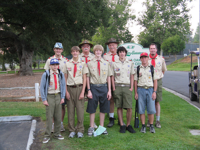 Troop 679's Philmont Crew. Mario, Garrett, Travis, Bill, Thomas, David, Alex, Ian, Bruce.