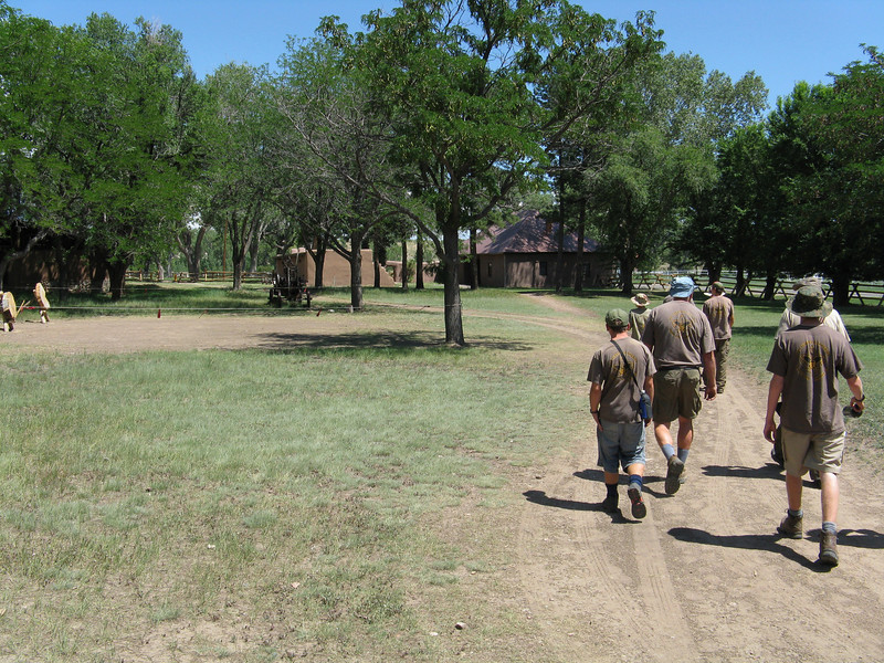 Walking over to the trading post building.