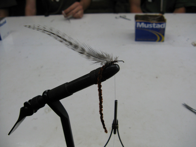 Attaching the hackle and chenile to the hook.