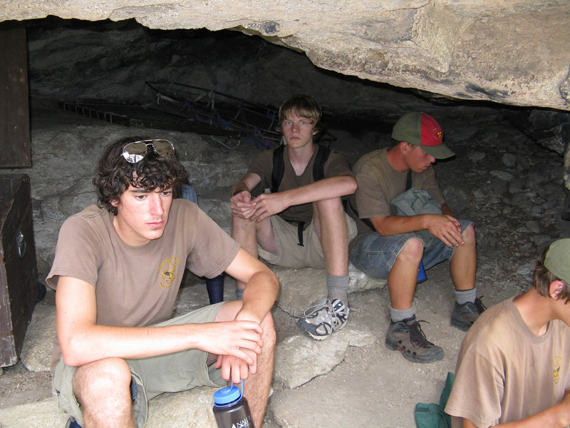 Alex, Thomas and Ian hang out in the cave.