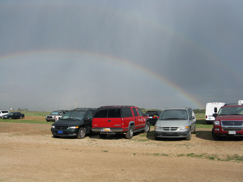 Afternoon thundershowers left a spectacular double rainbow east of Philmont.