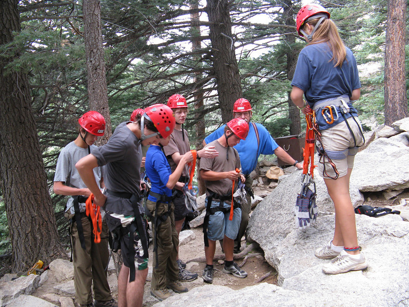 Getting the climbing gear on.