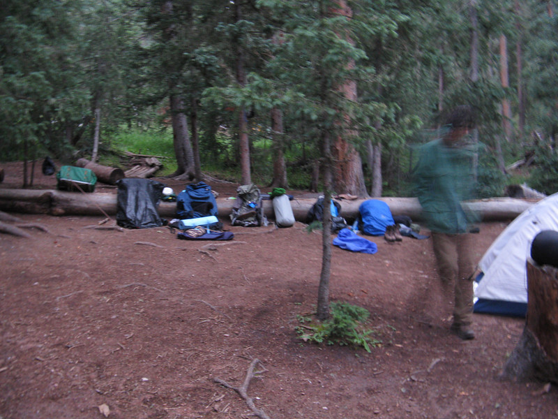 Day 9. Packing up in the morning to leave Clear Creek for our assault on Mt. Phillips.
