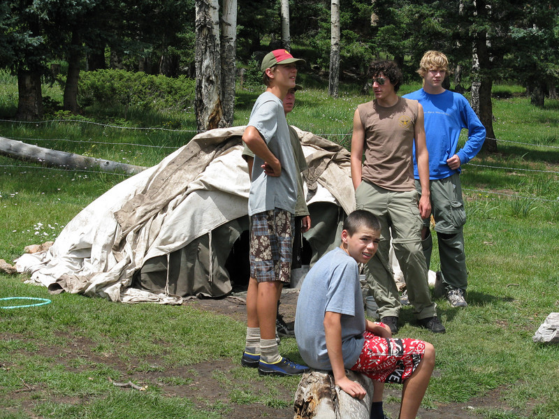 5 scouts in one lodge. Adults and Garrett in the other lodge. You sit on an overturned bucket and sprinkle water over the hot rocks. The heat and humidity create a sauna experience. It gets up to 150 degrees in there and you sweat for about 20 minutes.