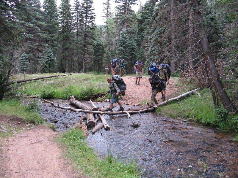 Crossing the Rayado Creek on the way to Comanche Camp.